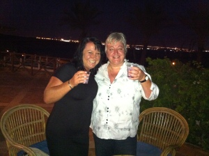 My fabulous friend Sharon and I sampling the vatered down wodka ..